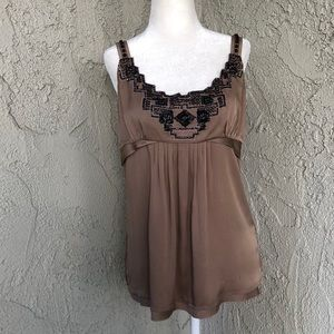 Ellie Tahari Chocolate Brown Silk Embroidered Tank
